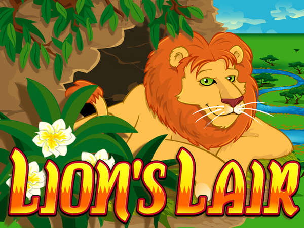 The Lion's Lair feature of 12 free games is triggered when scattered Lairs appear on reels 2, 3, and 4. Free game prize multipliers of x2, x3, and x5 are displayed at the top of the screen.